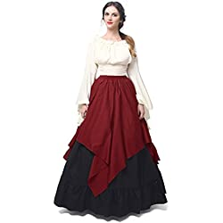 Women Medieval Dress Gothic Victorian Fancy Dresses (X-Large, White&Wine Red)GC229B-XL