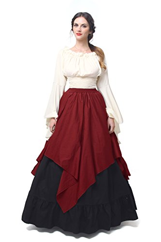 Women Medieval Dress Gothic Victorian Fancy Dresses (XX-Large, White&Wine (Medieval Fancy Dress Plus Size)