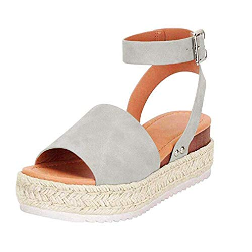 Womens Casual Espadrilles Trim Rubber Sole Flatform Studded Wedge Buckle Ankle Strap Open Toe Sandals (Gray,9.5 M US)
