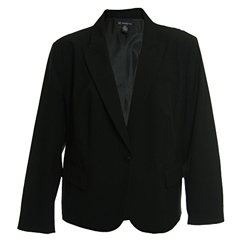 INC Women's Plus Size Long Sleeve 1 Button Blazer Jacket 16w Deep Black