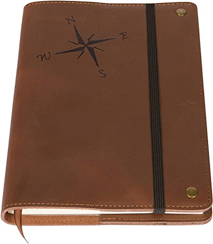 - The Compass Rose Real Leather Refillable Writing Journal | 200 Lined Pages | Elastic Strap, 5 x 8 Inches for Travel, Personal, Poetry | Brown | The Amazing Office