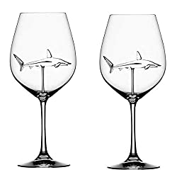 Fan-Ling Shark Wine Glass,Home The Original Shark Red Wine Glass Wine BottleCrystal For Party Flutes Glass,Elegance Creative Shark Cup,7.5 × 7.5 × 21cm,300ml (B:2PCS)