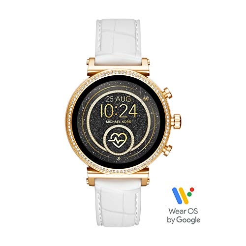 Michael Kors Access Women's Sofie Heart Rate' Stainless Steel Touch-Screen Smartwatch with Silicone Strap, White, 18 (Model: ()