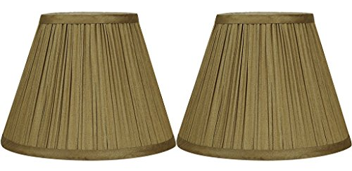 Urbanest Set of 2 Mushroom Pleated Softback Lamp Shades, Faux Silk, 5-inch by 9-inch by 7-inch, Gold, Spider-Fitter ()