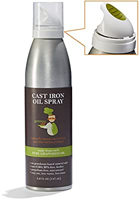 Cast Iron Skillet Seasoning Oil - Unique Spray Design & Made from 100% Non-GMO Grapeseed Oil - Natural Conditioning Oil Great for All Kitchen Pots, Pans and Cookware - Made in the USA - Greener Chef