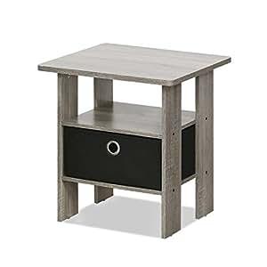 Furinno 11157gyw Bk End Table Bedroom Night Stand W Bin Drawer French Oak Grey