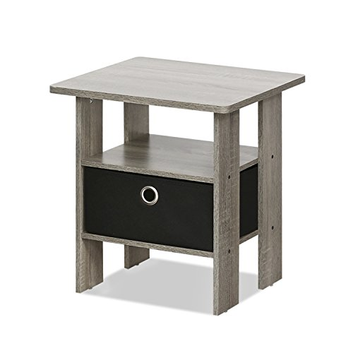 FURINNO 11157GYW/BK End Table Bedroom Night Stand W/Bin Drawer, French Oak Grey/black, (Contemporary Bedside Tables)
