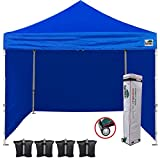 Eurmax 10'x10' Ez Pop-up Canopy Tent Commercial Instant Canopies with 4 Removable Zipper End Side Walls and Roller Bag, Bonus 4 SandBags(Blue)