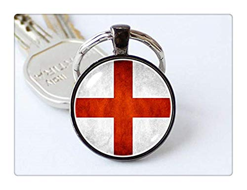 Art Picture Key Chains,St George Cross keychain English flag key ring English jewelry Flag of England key chain Flag pendant Patriotic gift England keyring Flags,Gift of love