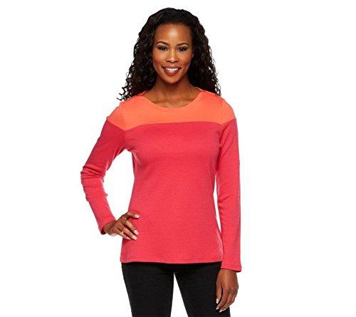 Liz Claiborne NY Long SLV Color-Block Crew Neck Knit Top Ruby Red L New A235290 Liz Claiborne Woman Blouse