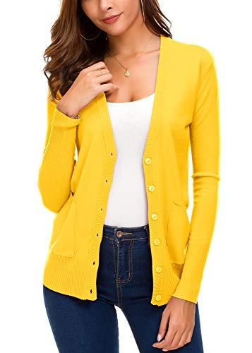 EXCHIC Women's Basic Cardigan Long Sleeve Button Down Thin Coat Autumn Fashion Sweater (M, Lemon Yellow)