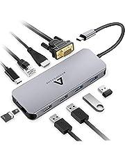 Anoopsyche USB C Adapter Hub, 11 Ports Aluminium Typ C Hub mit 4K HDMI, VGA, Type C 100W, 4 USB 3.0/2.0, Gigablit Ethernet RJ45, SD/TF - Kartenleser für MacBook Pro, Chromebook und Mehr Type-C Geräte