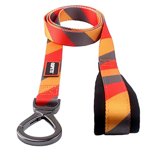QQPETS Long Dog Leash Belt with Soft Padded Handle Heavy Duty Nylon Pet Leash for Medium Large Breeds Yellow Grey Red Stripe (Length:5ft Width:1inch) ()