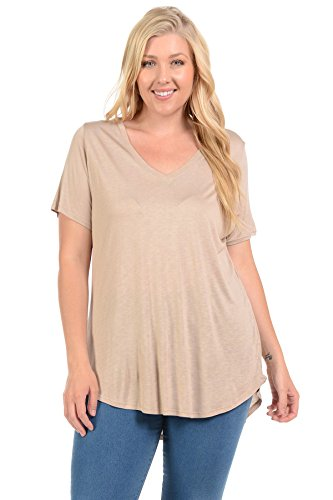 Women's Plus Size Basic Solid V Neck Loose Fit Short Sleeve Tunic T Shirt (3XL, LT - Philipp Lim