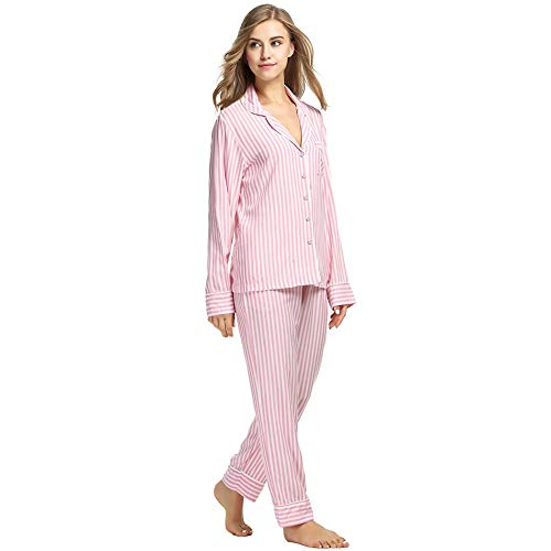 Vita Dukunkun Elastico Home Gown Pigiama Casual xl Maniche Night S A Set Wear Stripe Lunghe In 0zwr0q