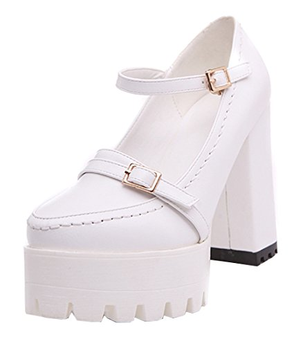 471dc4c03da9 YE Damen Blockabsatz High Heels Plateau Pumps mit Knöchelriemchen und Schnallen  Moderne Schuhe Weiß