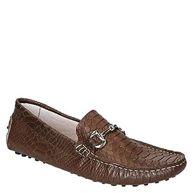Conducción Mocasines para Hombres de Cuero de cocodrilo marrón con Textura: Amazon.es: Zapatos y complementos