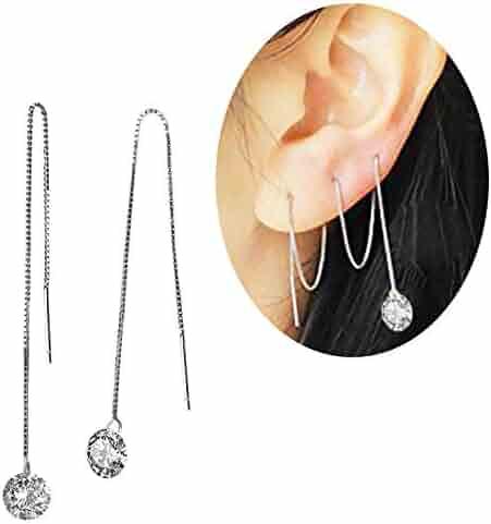 cdafed839 Elensan 925 Sterling Silver Ear Cuff Wrap Clip Earrings Crawler for Women  Girls Non Pierced Cartilage