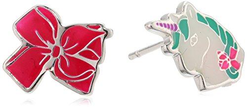 Nickelodeon Girls Jojo Siwa Silver Plated Bow & Unicorn Mix Match Stud Earrings, Multi by Nickelodeon (Image #3)