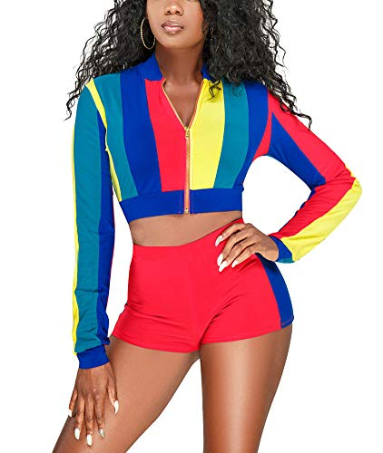 Women 2 Piece Outfits Clubwear - Long Sleeve Rainbow Striped Zipper Front Crop Top Short Pants Set Tracksuit Red, Small by PrettySoul