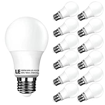 LE 12 Pack A19 LED Bulbs, 60W Incandescent Bulb Equivalent, 10W E26 Bulb , 2700K Warm White, Non-Dimmable, 810lm, 240° Flood Beam, Medium Screw, LED Light Bulbs for Home