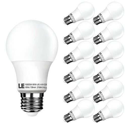 LE 12 Pack A19 LED Bulbs, 60W Incandescent Bulb Equivalent, 10W E26 (Warm White Cfl)