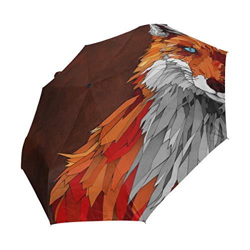 Bennigiry Fox Animal Arte 3 Pliegues Paraguas de Cierre automático Abierto, tamaño de Golf Plegable y Resistente al Viento, Paraguas de Viaje Compacto y ...