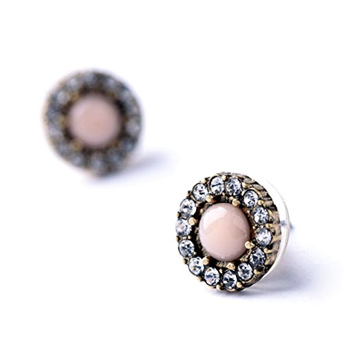 Crystal Halo Stud Earrings Tone Crystal and Simulated Pearl Button Earrings for Women Valentine's Day Gift