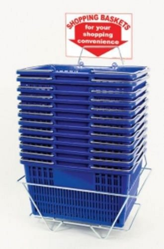 Shopping Basket Set of 12 Durable BluePlastic with Sign and Stand by Only Garment Racks