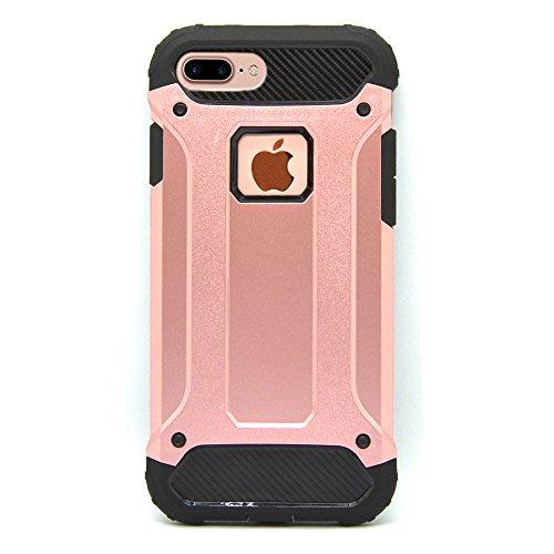 iProtect Apple iPhone 7 Plus, iPhone 8 Plus Hülle Dual Layer Hard Case stoßfeste Schutzhülle in schwarz und rosa