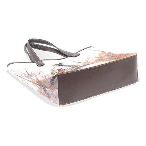 COOSUN Womens Watercolor Quail Pu-Leder große Einkaufstasche Griff Umhängetasche