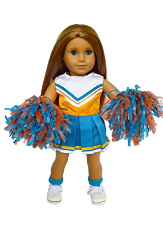 Brittany's My Complete Blue-Orange Cheerleader Outfit with Real Pom Poms Compatible with American Girl Dolls- 18 Inch Doll Clothes