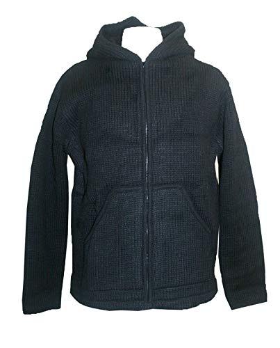Agan Traders UF1 Wool Winter Sherpa Hoodie Sweater Coat Jacket (XX-Large, UF1 Black)