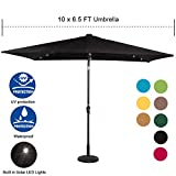 Sundale Outdoor Rectangular Solar Powered 26 LED Lighted Patio Umbrella Table Market Umbrella with Crank and Push Button Tilt for Garden, Deck, Backyard, Pool, 6 Alu. Ribs, 10 by 6.5-Feet (Black) For Sale