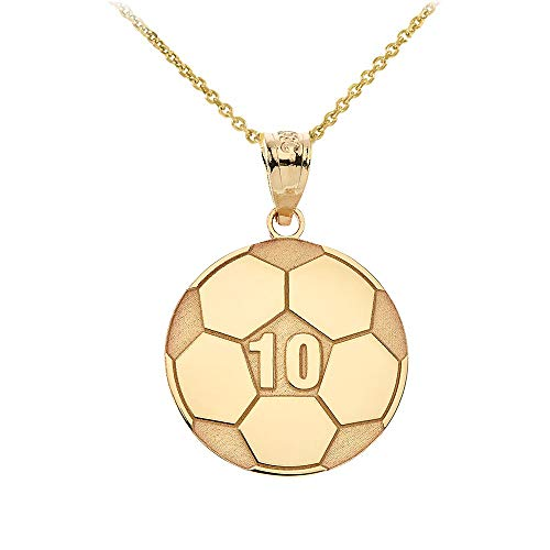 Sports Charms 14k Yellow Gold Customized Soccer Ball Necklace with Your Name and Number, 18