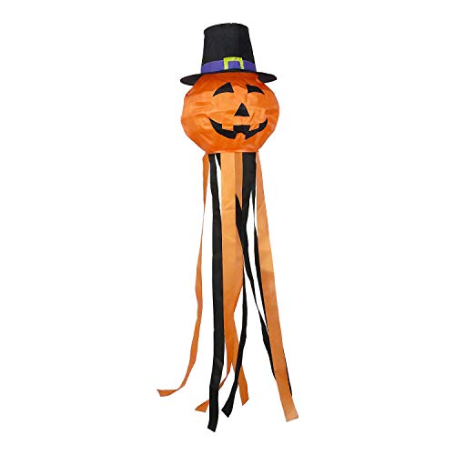 OUTOUR Halloween Pumpkin Jack-O-Lantern Jack O Lantern Fabric Windsock Wind Sock Hanging Decorations 52″ Flag for Garden Patio Lawn Backyard Home Yard Porch Balcony Outdoor Decor Party Supplie