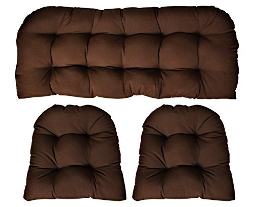 RSH Decor Sunbrella Canvas Bay Brown 3 Piece Wicker Cushion Set - Indoor/Outdoor Wicker Loveseat Settee & 2 Matching Chair - 100% Dyed Solution Acrylic