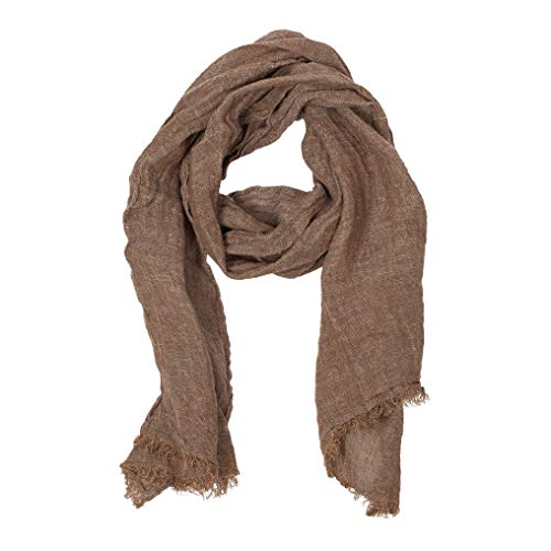 100% Linen Scarf | Brown Scarf | Scarves For Women | Mens Scarf | - Brown Scarves Curtain