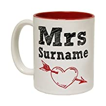 123t Mugs MRS SURNAME PERSONALISED Ceramic Slogan Cup With Red Interior by 123t Mugs