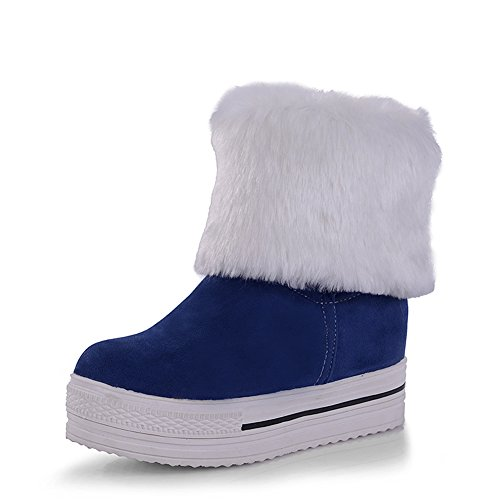 Lucksender Womens Round Toe Platform Increased Heel Mid-Calf Two Ways Snow Boots Blue mJvvsD