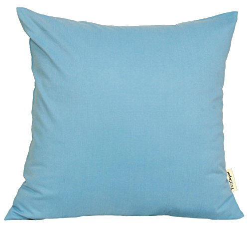 """TangDepot Cotton Solid Throw Pillow Covers, 20"""" x 20"""" , Sky"""