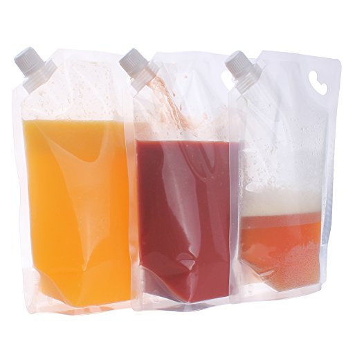 Zicome 10 Pieces Plastic Liquor Pouch Drinks Flasks Concealable Drinking Flasks with Silicone Funnel (32 ounce) ()