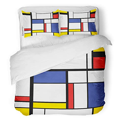Semtomn Decor Duvet Cover Set King Size Blue Cubism Abstract Modern Painting in Mondrian Colorful Artistic 3 Piece Brushed Microfiber Fabric Print Bedding Set Cover