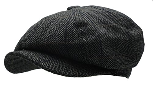 Men's Wool Blend Applejack Houndstooth Plaid Ivy Newsboy Hat (Gray)
