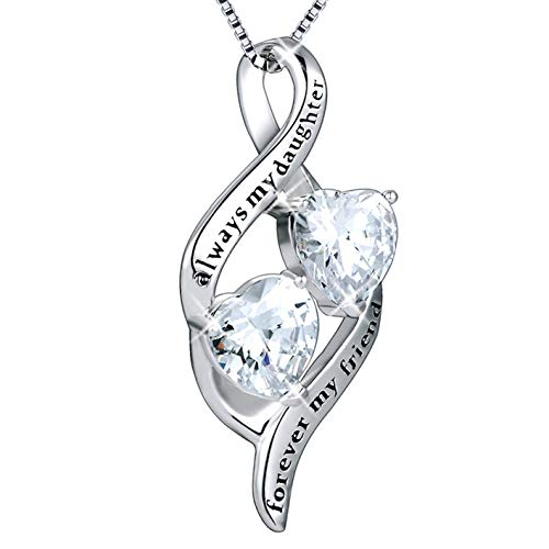 MUATOGIML 925 Sterling Silver Always My Daughter Forver My Friend Double Love Heart Pendant Necklace, 18'' Box Chain by MUATOGIML (Image #6)