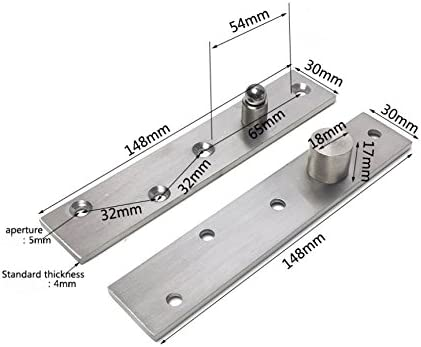 98 x 24 mm Stainless Steel Brushed Finish Hardware 2 pcs Ranbo 98 mm x 24 mm Hidden Door Center Hung Pivot Set,360 Degree Concealed Rotating Door Pivot Hinge