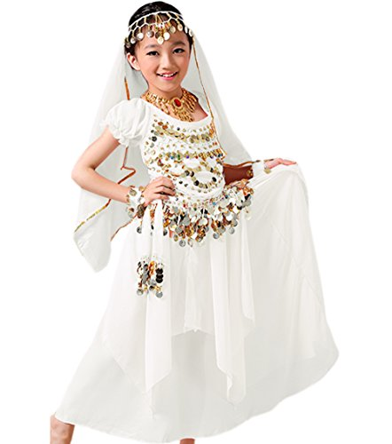 Astage Girls Princess Costume Halloween Dance Sets White L 9 to 10 Years -