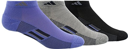adidas Womens Climacool Superlite Low Cut Socks (3-Pack), Purple/Grey/Black, Size 5-10