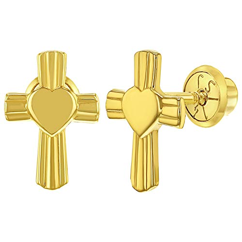 14k Heart Crucifix - 14k Yellow Gold Heart Cross Earrings for Girls Catholic Religious Screw Back