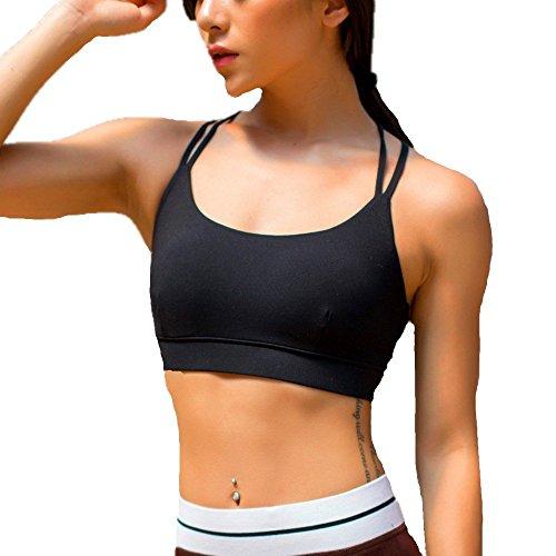 Review LYZ Women's Padded Sports Bra Criss Cross Back High Impact Strappy Yoga Bra Black Large